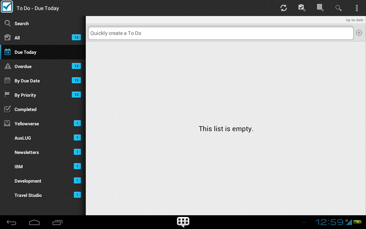 Figure 6: The NATIVE IBM Lotus Notes Traveler To-Do app for Android Tablet:
